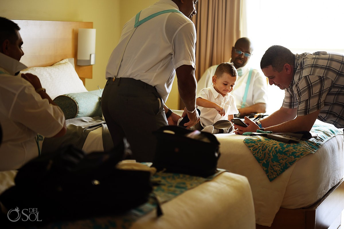 ring bearer getting ready Beach Palace Cancun Mexico