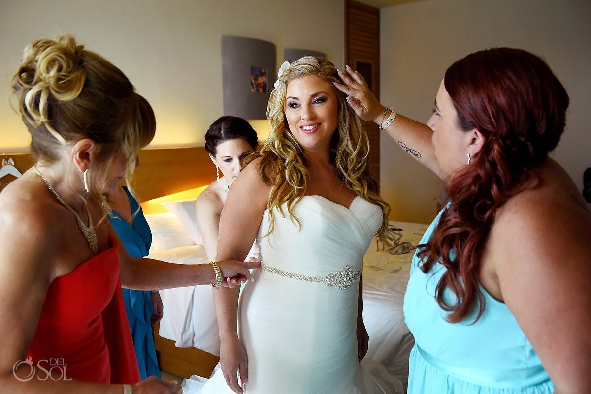 Beautiful bride getting ready Beach Palace Cancun Mexico