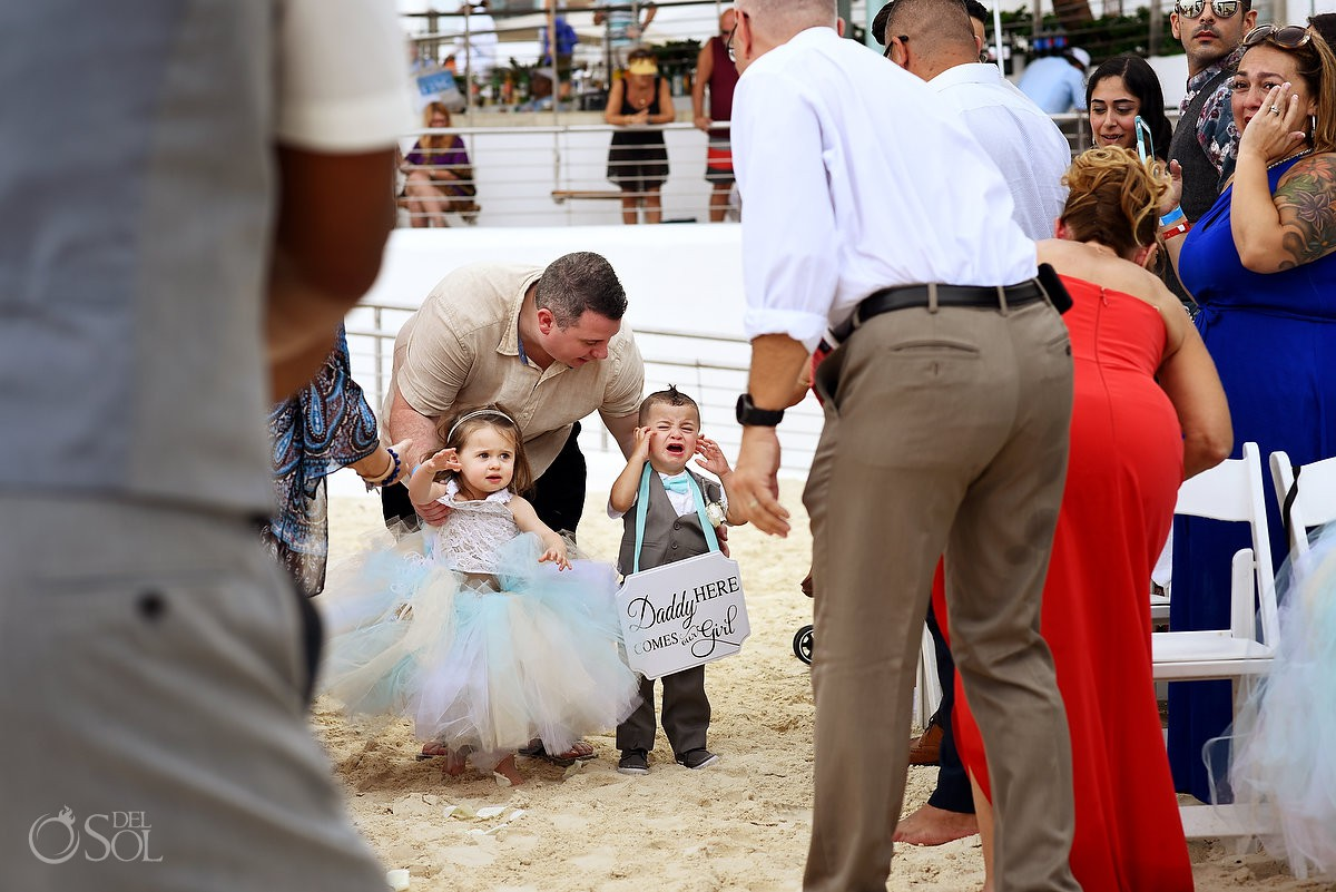 kids at weddings flower girl and ring bearer crying ceremony Beach Palace Cancun Mexico