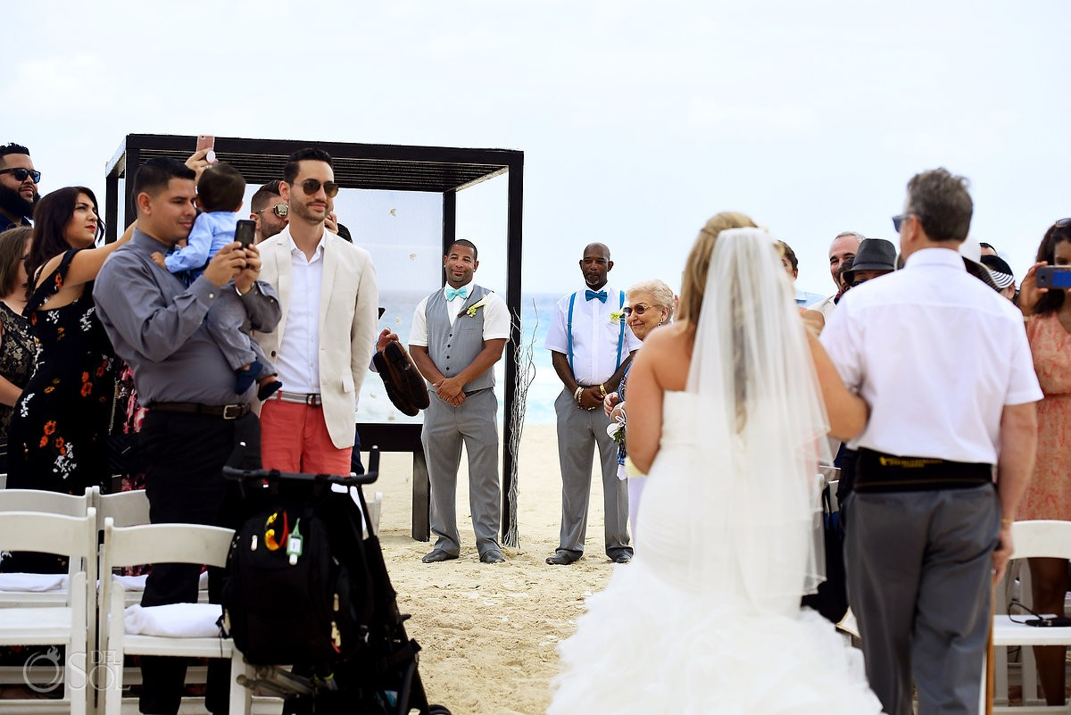 Bride and groom first look Beach Palace Cancun Mexico