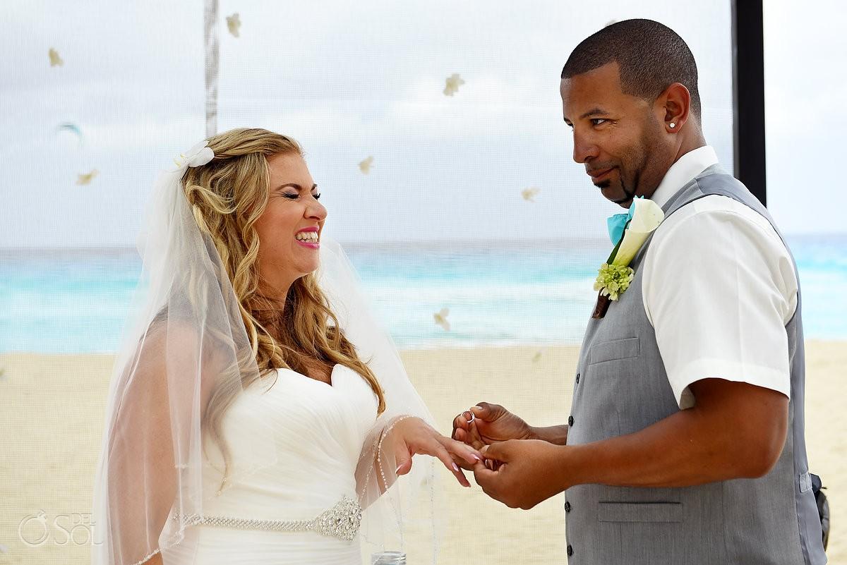 Fun exchange wedding rings Beach Palace Cancun Mexico