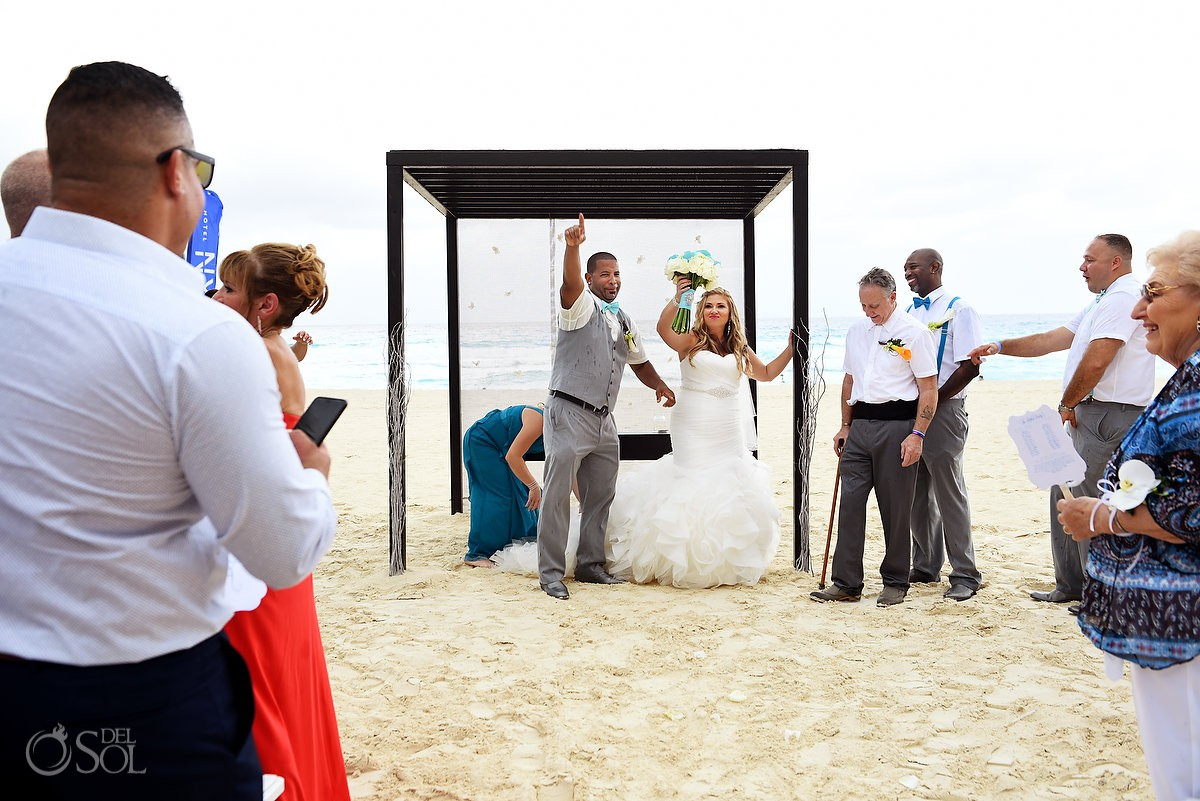 Just married celebration Beach Palace Cancun Mexico