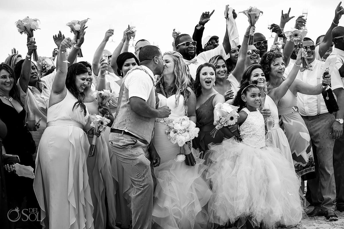 bride and groom first kiss beach wedding Beach Palace Cancun Mexico