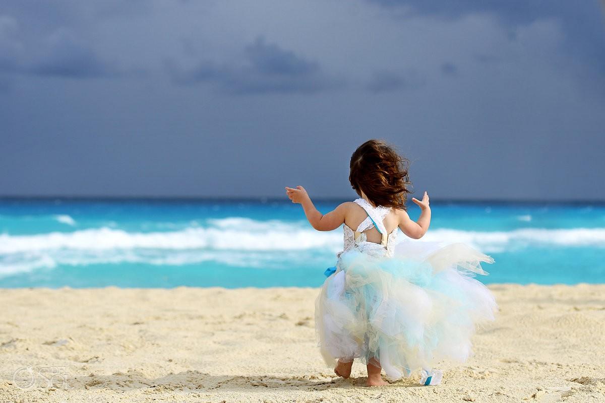 beautiful flower girl portrait Beach Palace Cancun Mexico