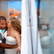 Creative bride and groom wedding portrait Beach Palace Cancun Mexico