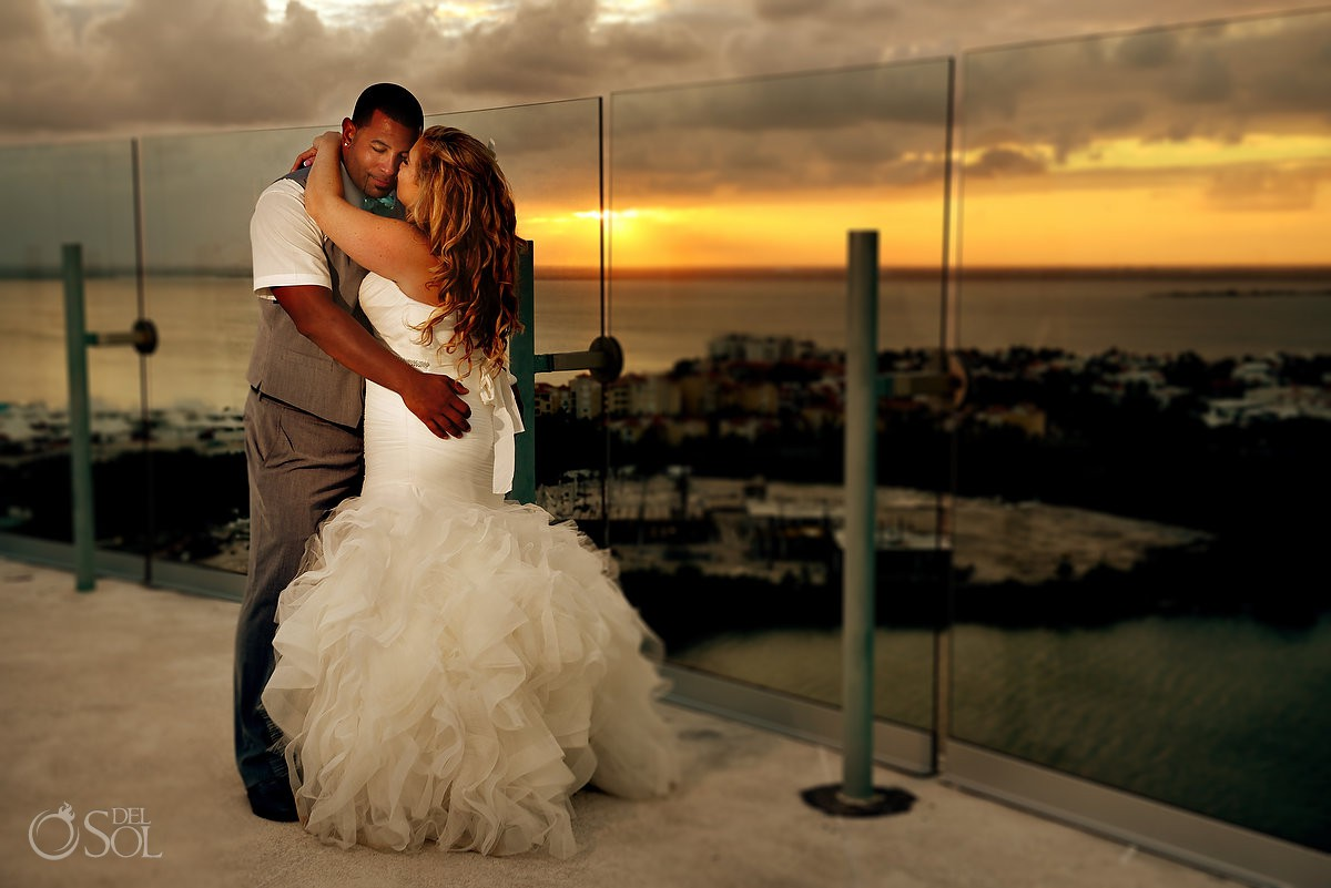 Destination wedding portraits Beach Palace Cancun Mexico sunset love