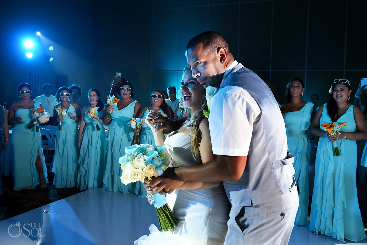 Bride and groom dancing wedding reception Beach Palace Cancun Mexico
