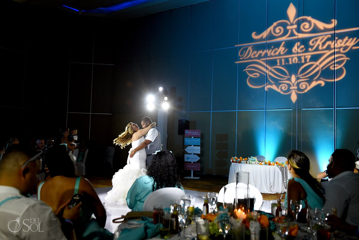 bride and groom first dance destination wedding reception Beach Palace Cancun Mexico