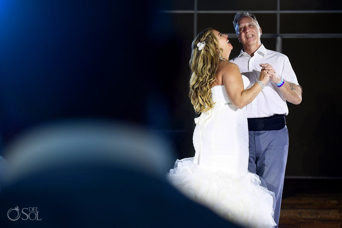 Beach Palace Cancun Mexico bride and father reception dance