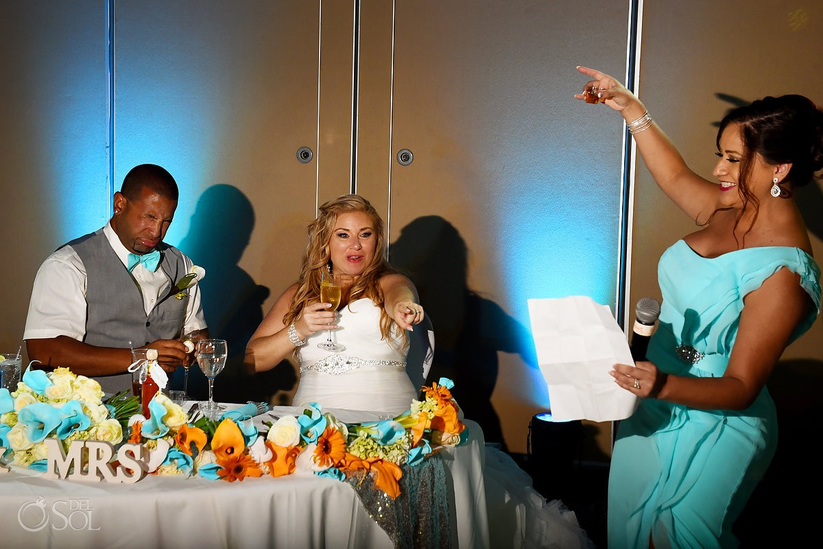 cheers for love bridesmaid toast Beach Palace Cancun Mexico