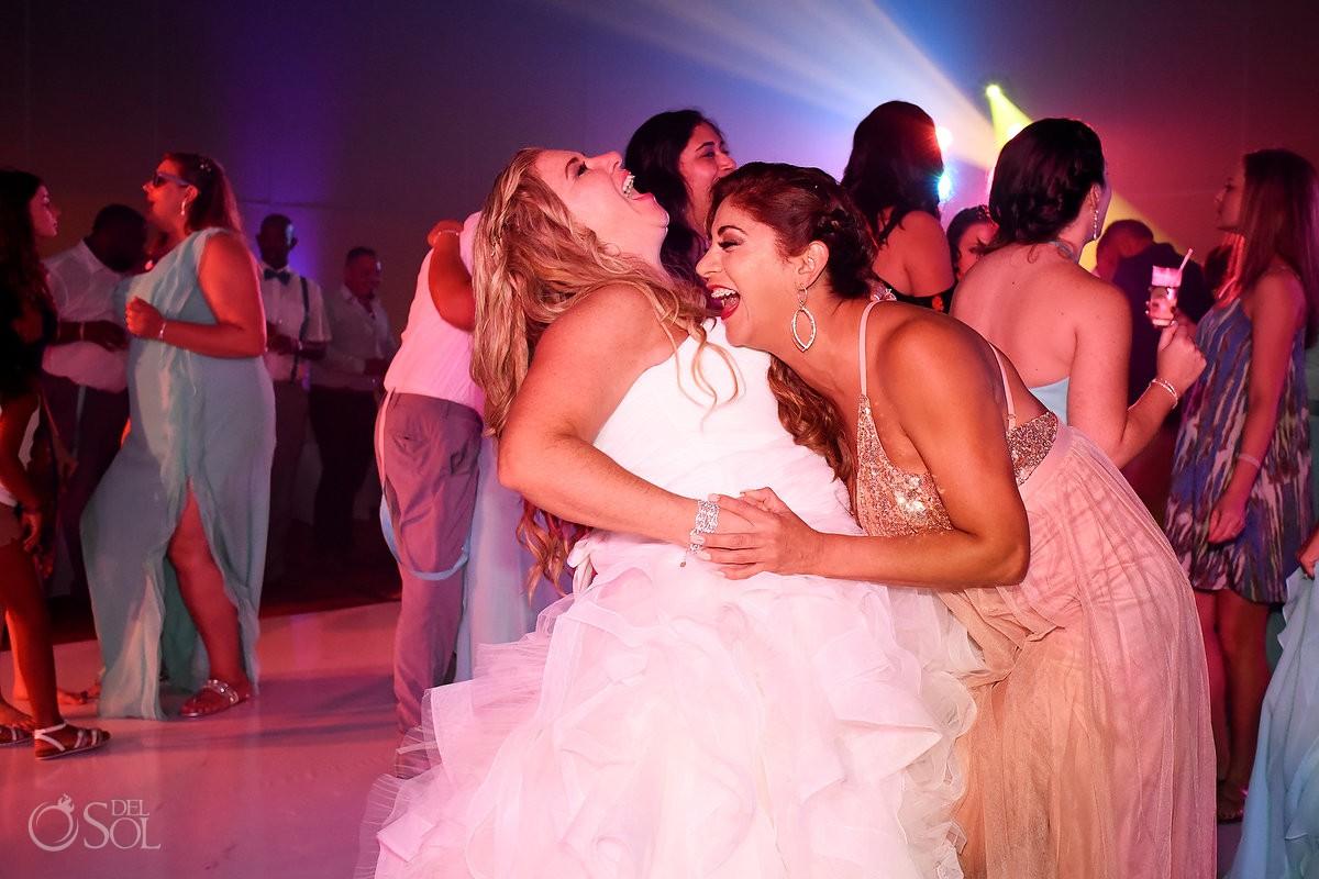 Bride wedding party fun moments Beach Palace Cancun Mexico