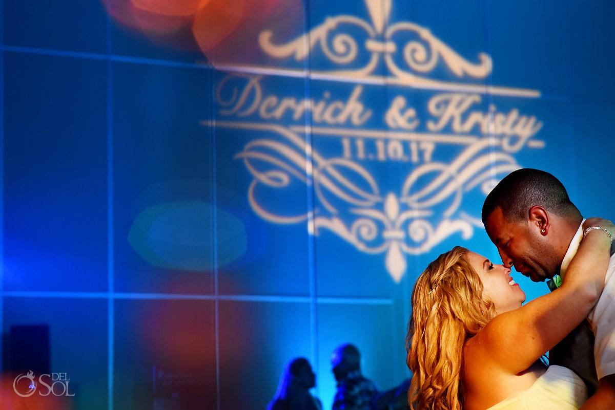 Bride and groom destination wedding reception Beach Palace Cancun Mexico