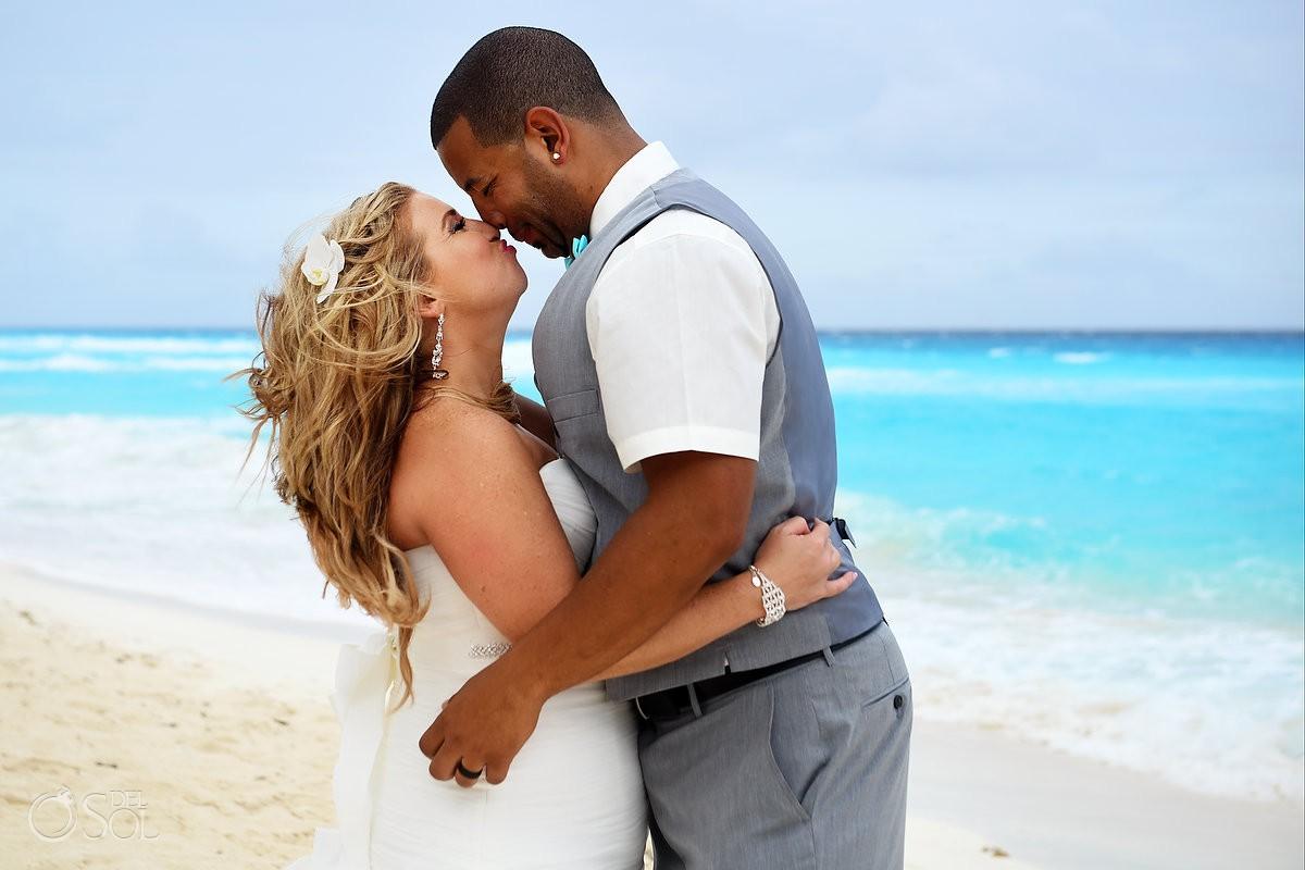 Bride and groom romantic beach wedding portraits Beach Palace Cancun Mexico