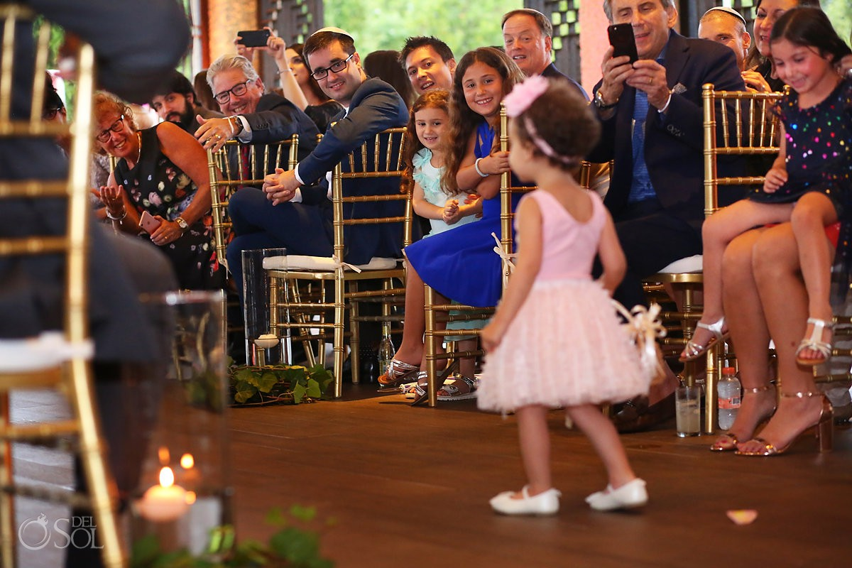 Destination wedding ceremony flower girl Paradisus Playa del Carmen Mexico