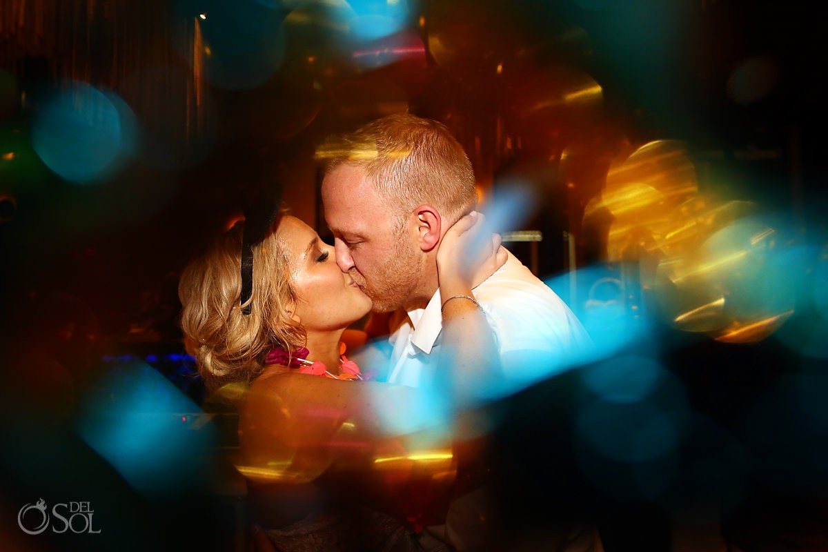 Bride and groom kiss wedding portrait Paradisus Playa del Carmen Riviera Maya Mexico