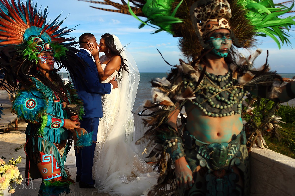 First kiss Mayan Ceremony Wedding Kay Club Bahia Petempich Cancun Mexico
