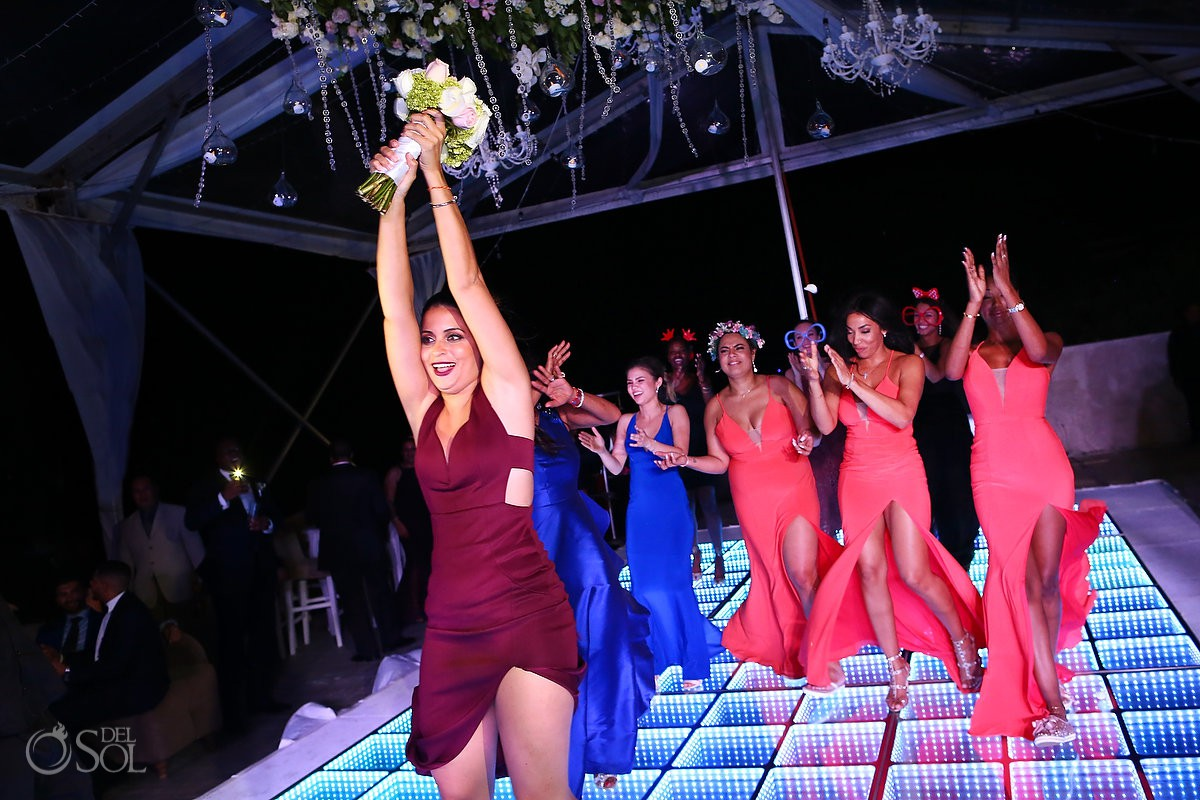 bouquet toast guest celebration luxury destination wedding Kay Club Bahia Petempich Cancun Mexico