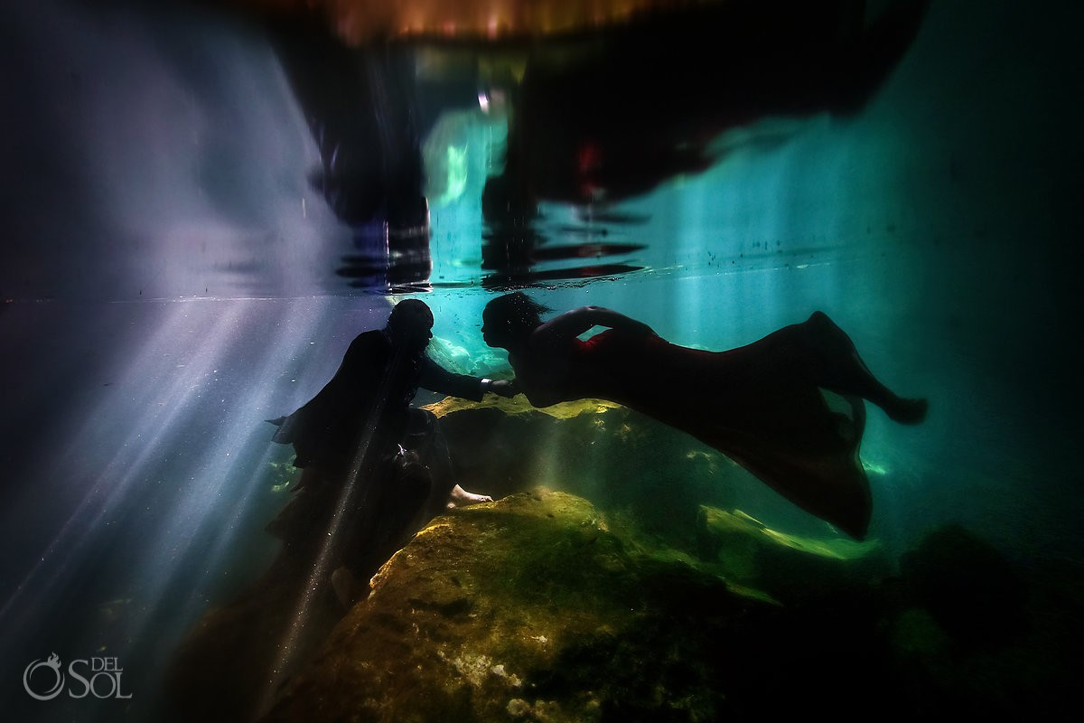 Underwater trash the dress couple silhouette Riviera Maya Mexico