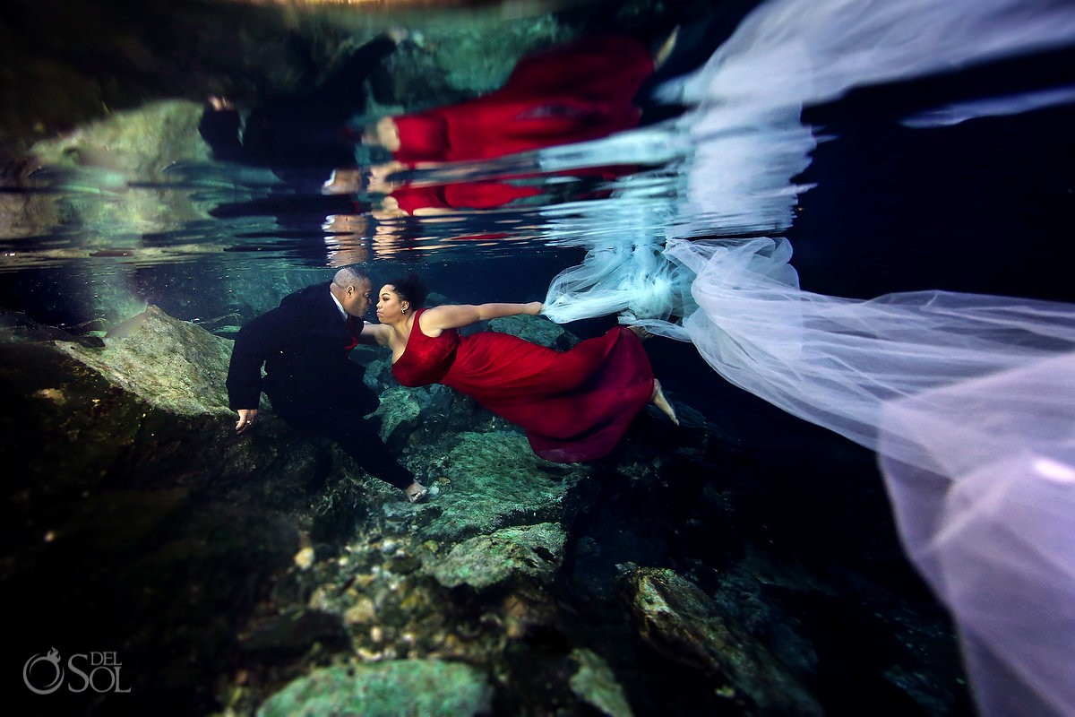 Underwater trash the dress couple Riviera Maya Mexico