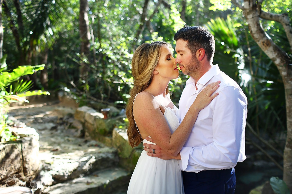 Bride and groom jungle love Cenote Trash the Dress Riviera Maya Mexico