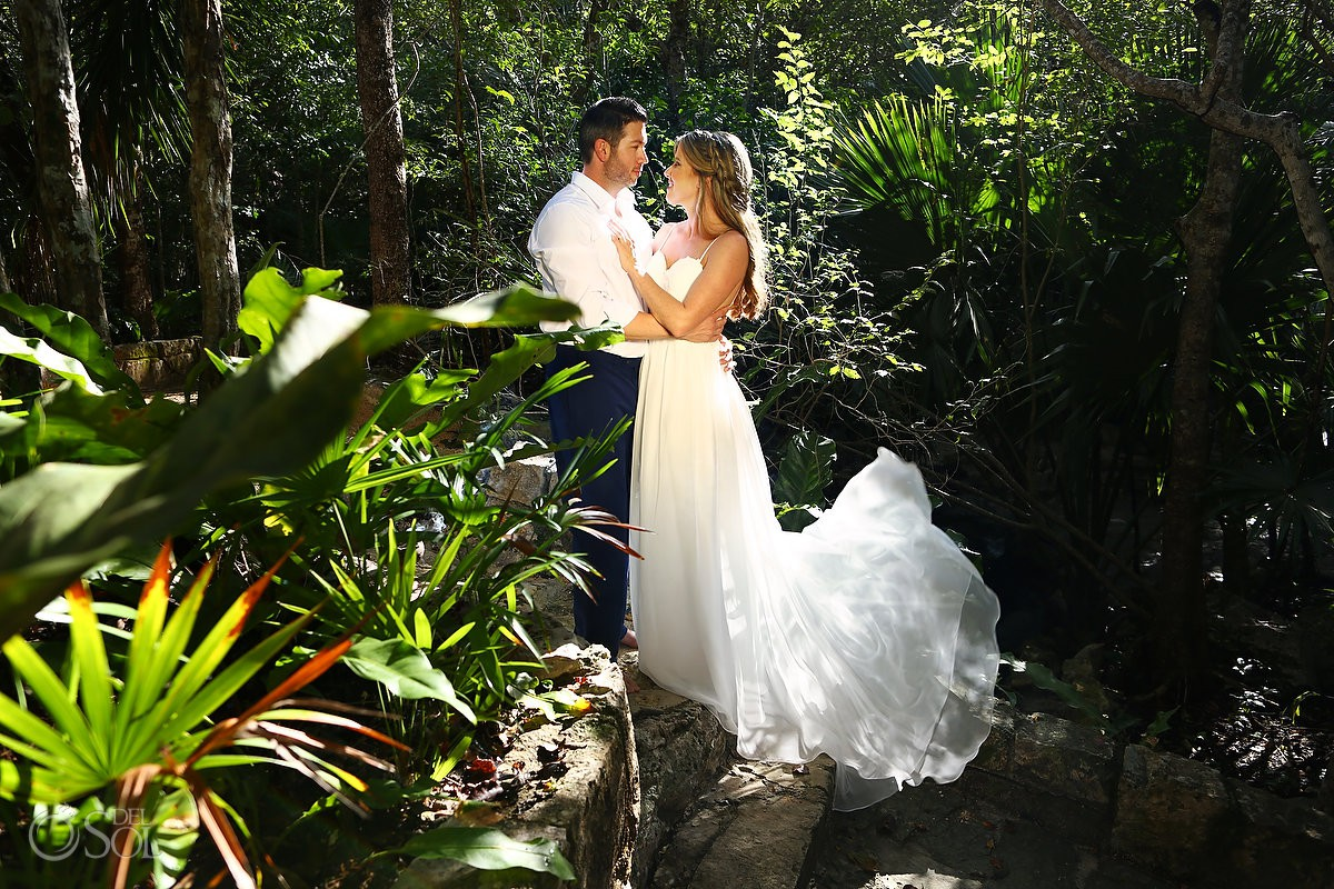 Bride and groom after wedding ideas Cenote Trash the Dress Riviera Maya Mexico