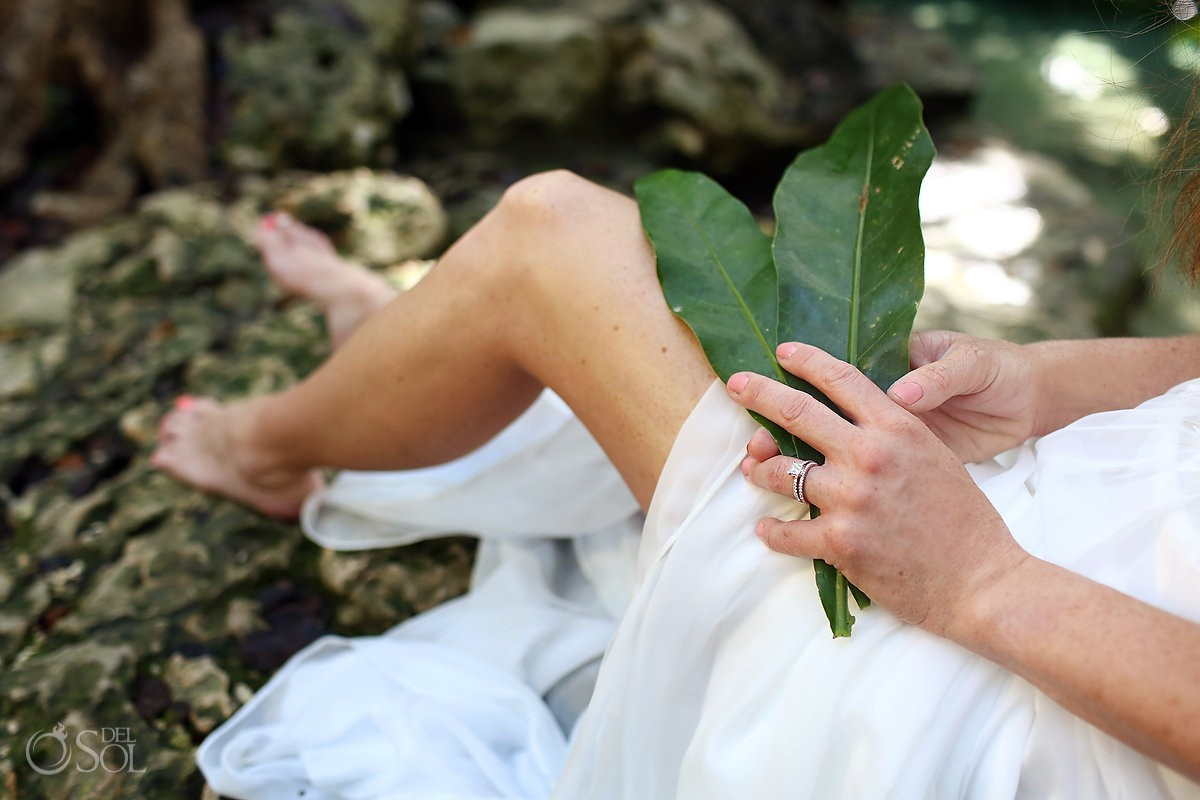 Wedding ring Cenote Trash the Dress Riviera Maya Mexico