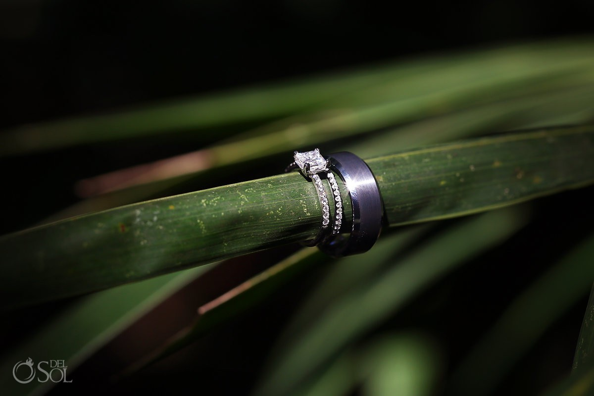 Bride and groom wedding rings Cenote Trash the Dress Riviera Maya Mexico
