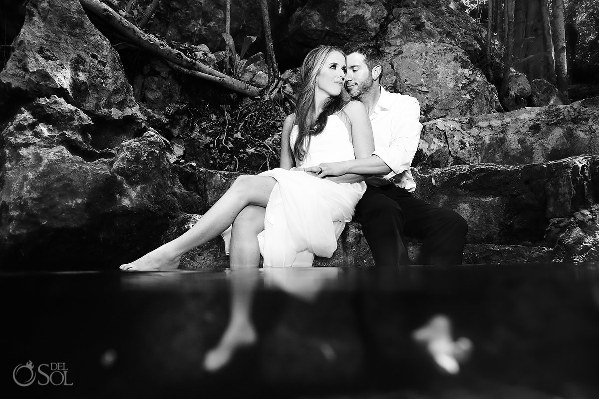 Black and white Cenote Trash the Dress Wedding Photography Riviera Maya Mexico