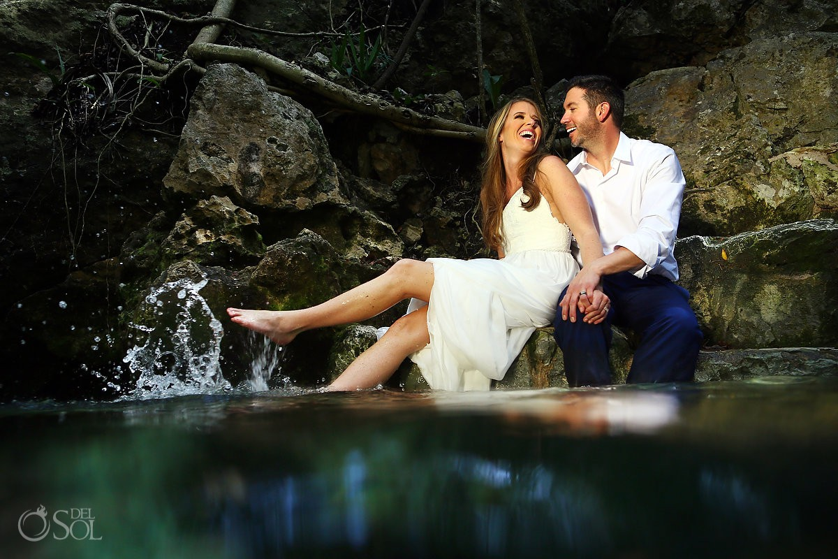 bride and groom enjoying Cenote Trash the Dress Riviera Maya Mexico
