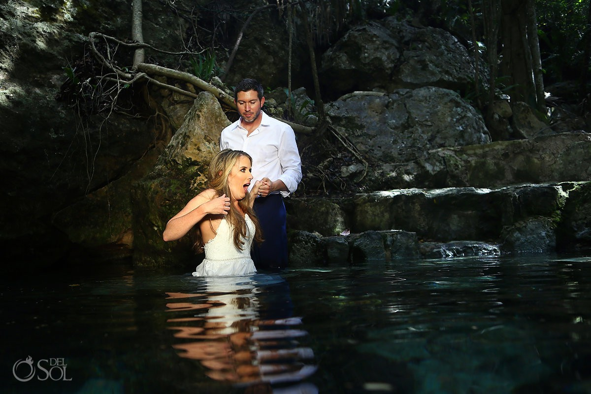 Underwater trash the dress cold water bride fun face