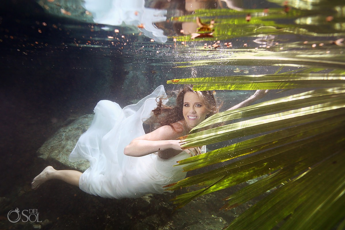 Underwater trash the dress photography Riviera Maya Mexico