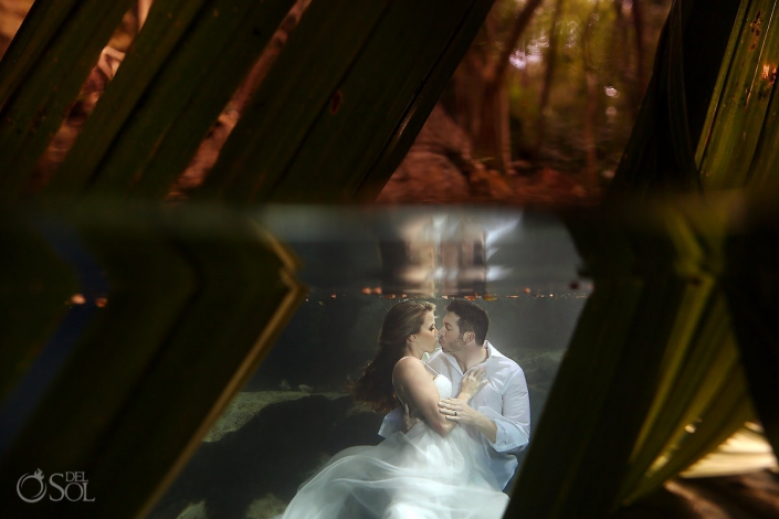 Love is better underwater bride and groom kiss Cenote Trash the Dress Riviera Maya Mexico