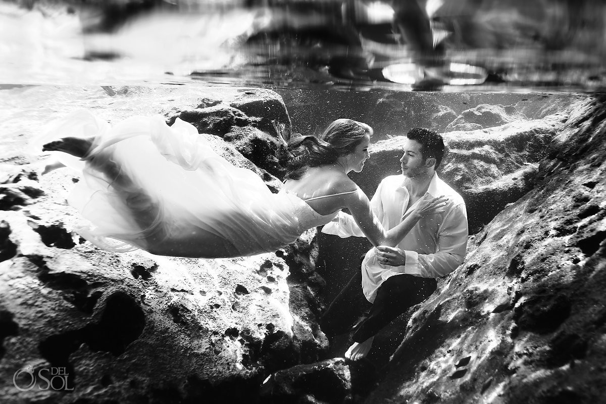 black and white Underwater trash the dress photography
