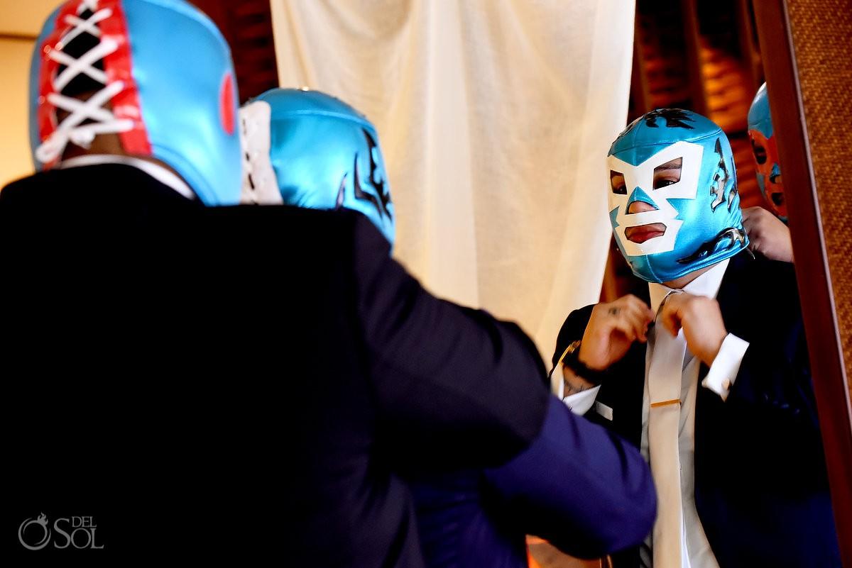 lucha libre wrestling masks groom wedding Dreams Riviera Cancun Gazebo