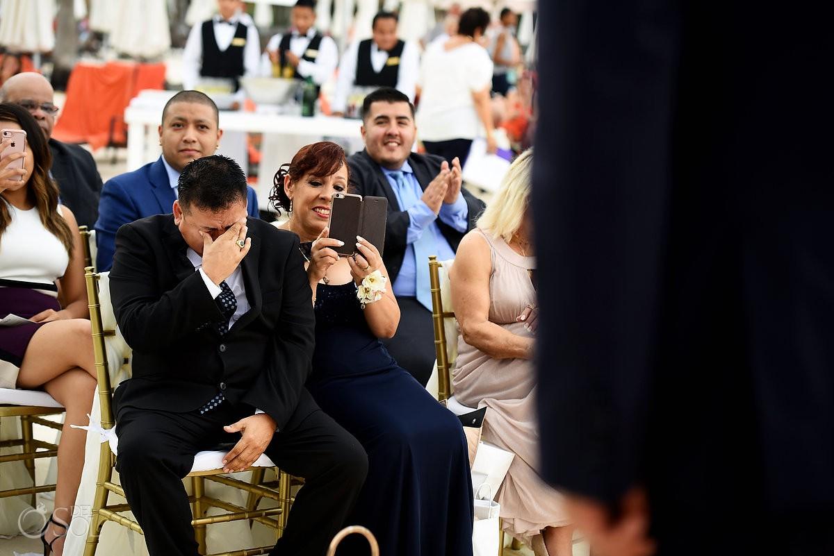 fathers crying on the wedding day Dreams Riviera Cancun Gazebo