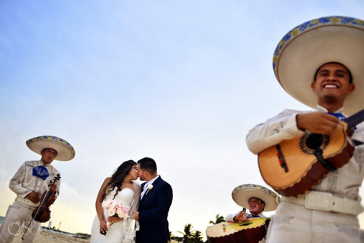 Mexican Mariachi play music at Dreams Riviera Cancun Gazebo wedding