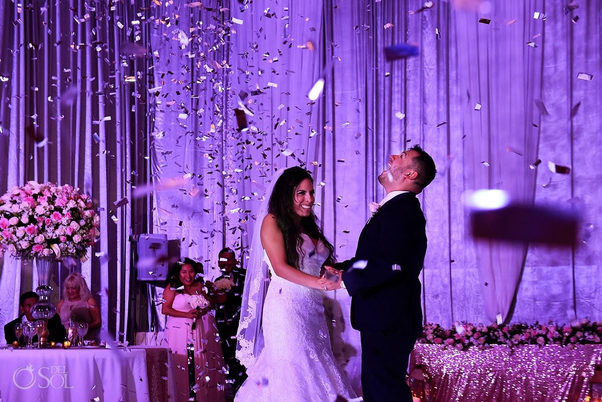 bride and groom confetti dance Dreams Riviera Cancun ballroom reception