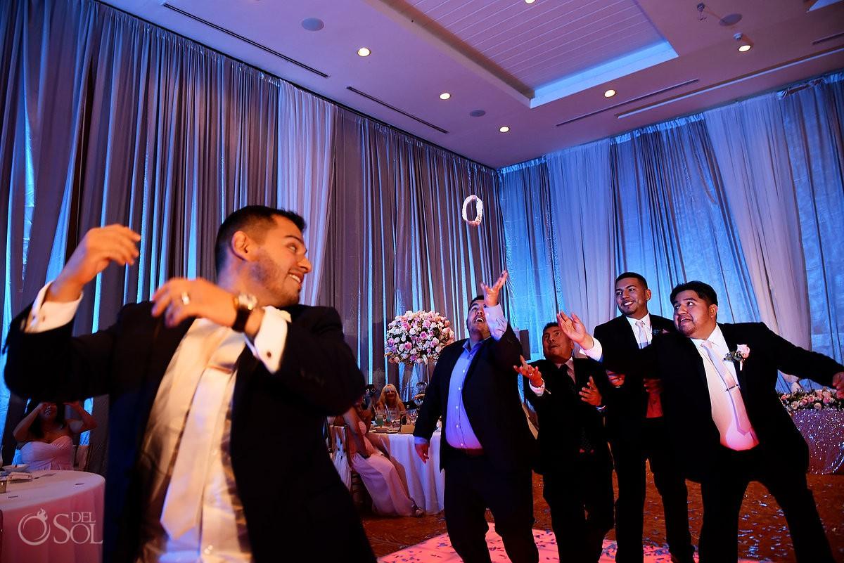 garter toss Dreams Riviera Cancun ballroom