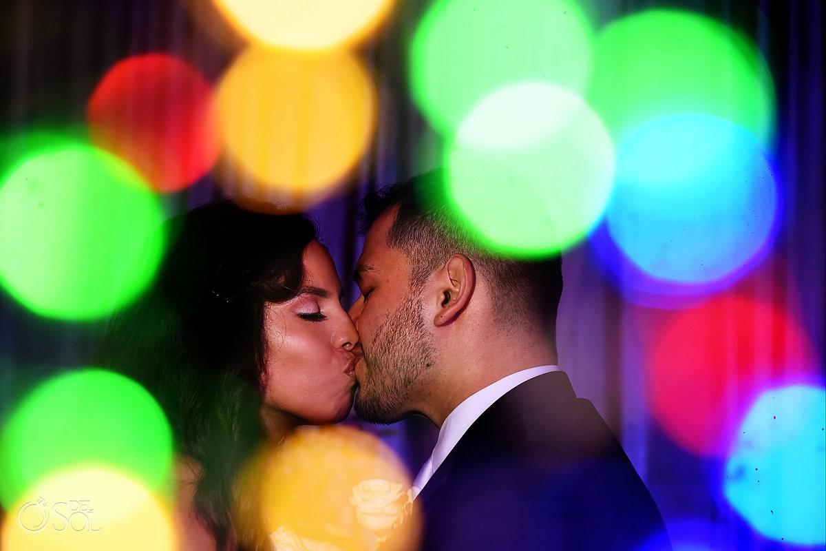 Dreams Riviera Cancun Gazebo bride and groom kiss