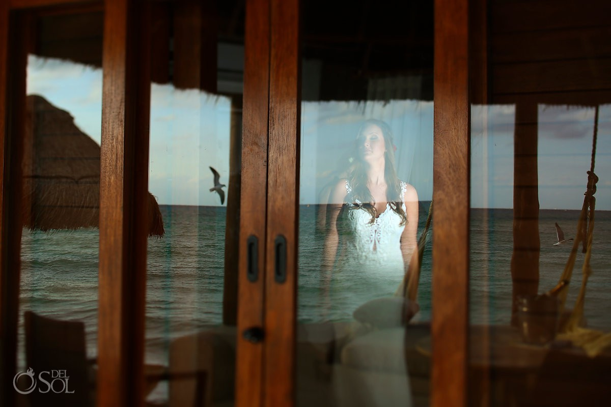 Destination beach weddings bride reflection portrait Mahekal Beach Resort Playa del Carmen Mexico