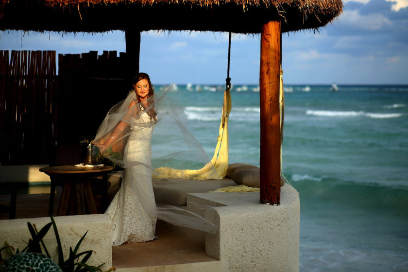 Mahekal Beach Wedding bride portrait Playa del Carmen Mexico