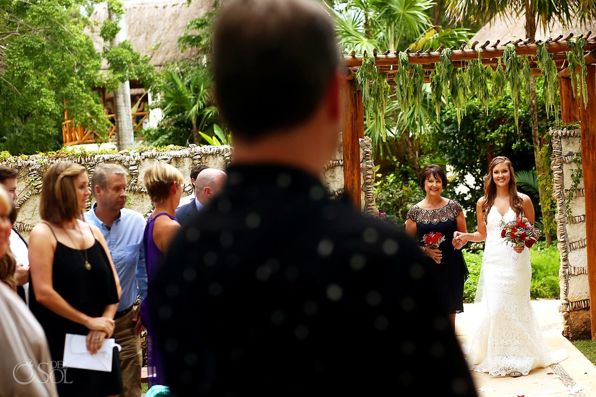 Bride and groom first look wedding ceremony Mahekal Beach Resort Playa del Carmen Mexico