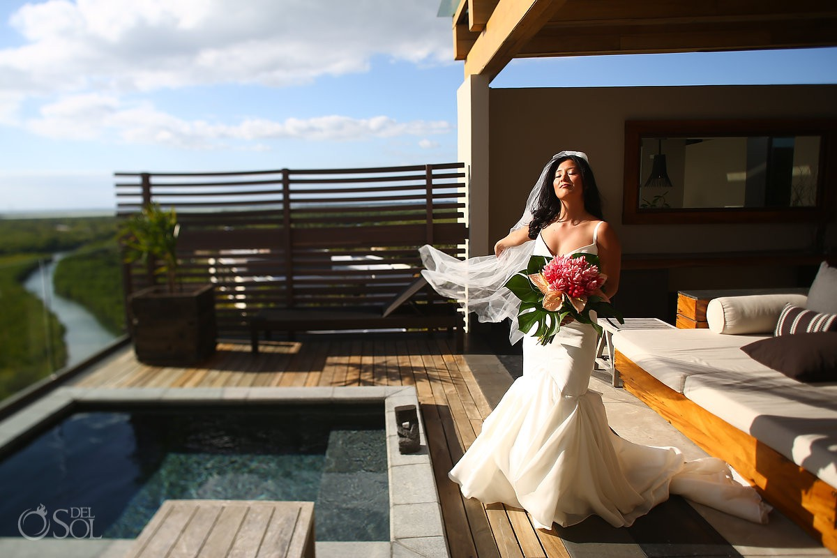 Bride portrait Cancun Elopement Nizuc Resort and Spa Mexico