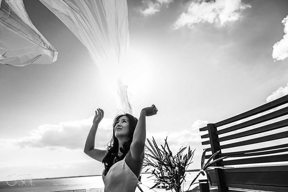 Beautiful bride vail portrait Cancun Elopement Nizuc Resort and Spa Mexico
