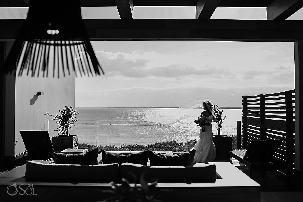 Black and white wedding portrait Cancun Elopement Nizuc Resort and Spa Mexico