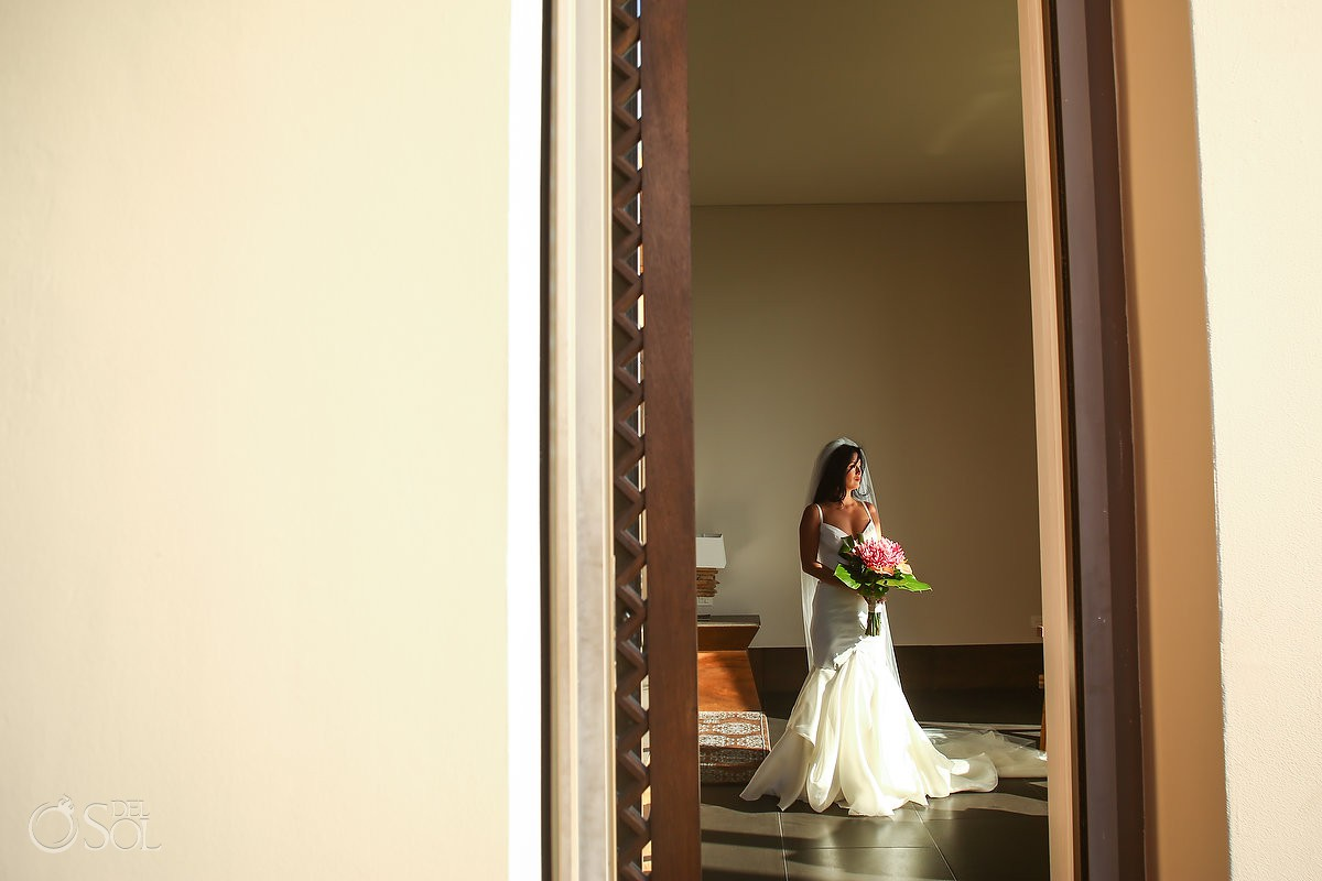 Bride getting ready beautiful portrait Cancun Elopement Nizuc Resort and Spa Mexico