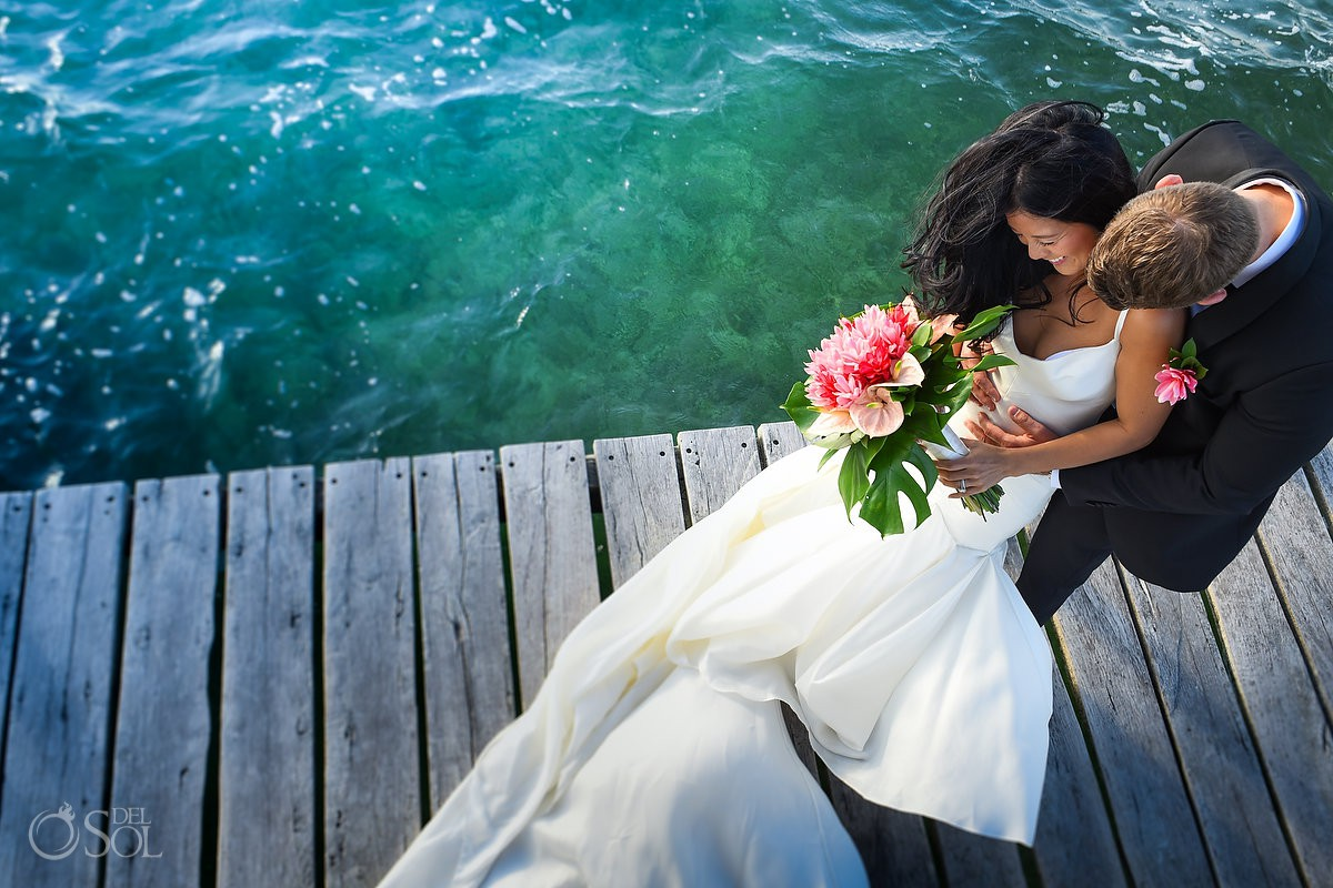 bride and groom Cancun Elopement Nizuc Resort and Spa Mexico beautiful beach view wedding for two