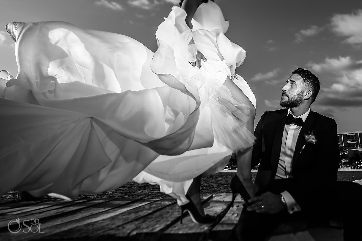 Creative black and white wedding portrait Cancun Elopement Nizuc Resort and Spa Mexico