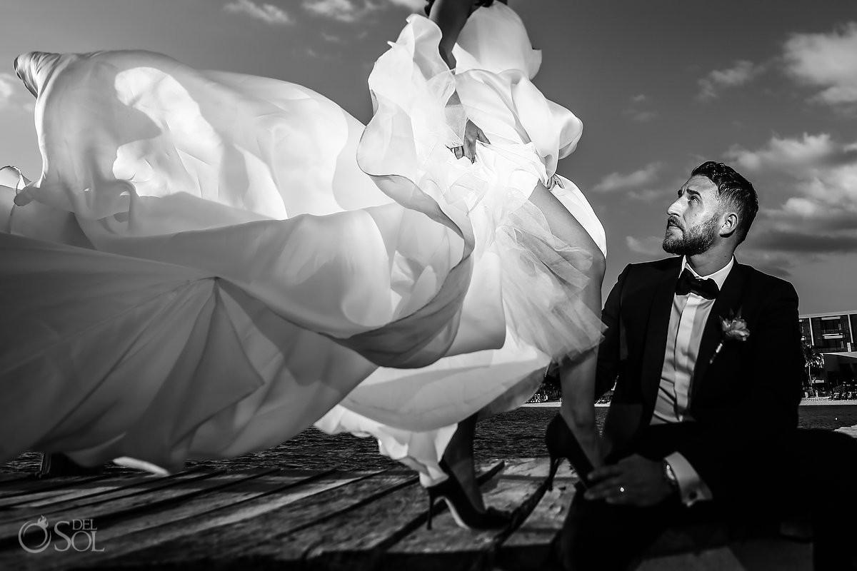 Creative black and white wedding portrait Cancun Elopement Nizuc Resort and Spa Mexico