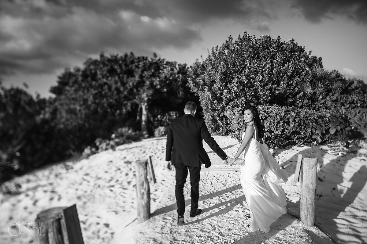 bride and groom wedding beach portraits Cancun Elopement Nizuc Resort and Spa Mexico